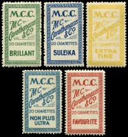 Lot 16:Greece: Cigarette Labels inscribed M.C.C./M.C. Carathanassis & Co/20 Cigarettes etc. In different colours & inscriptions. (5)
