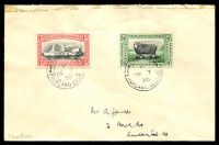 Lot 20892:Fox Bay: double-circle 'FOX BAY/B/DE7/36/FALKLAND ISLANDS' on ½d & 1d Centenary on James cover, selotape damage on top.
