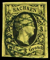 Lot 3982:1851 Friedrich August Mi #6 3g black on yellow 4 good margins, Cat €30.