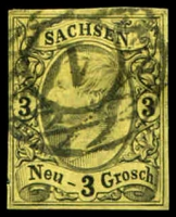 Lot 3758:1855-56 Johann Mi #11 3g black on yellow 4-margins, Cat €15.