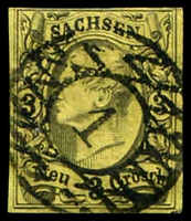 Lot 4074:1855-56 Johann Mi #11 3g black on yellow 4-margins, Cat €15.