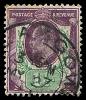 Lot 4057:1902-10 KEVII DLR Printing SG #224 1½d slate-purple & bluish green, Cat £18.