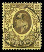 Lot 3559:1902-10 KEVII Harrison Printing P15x14 SG #285 3d purple on lemon, Cat £15.