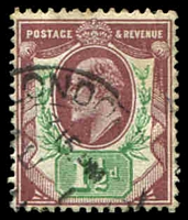 Lot 3801:1902-10 KEVII Somerset House Printing P14 SG #287 1½d reddish purple & bright green, Cat £35.