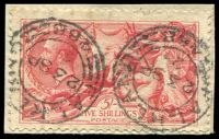 Lot 3560:1918-19 Seahorses Bradbury, Wilkinson Printing SG #416 5/- rose-red, Cat £120, on piece.