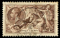 Lot 3803:1934 Re-Engraved Seahorses SG #450 2/6d reddish brown (Spec N73(2)), Cat £40.