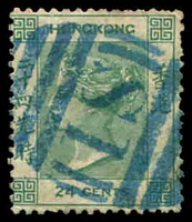 Lot 20370:1863-71 Wmk Crown/CC Shanghai SG #Z778 24c green cancelled with 'S1' BN in blue, Cat £14.