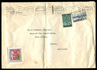 Lot 21101:1957 (Dec 16) use of 70a Reafforestation, 3k Eiriksjökull & 1957 Xmas seal on cover to Sydney, folded, couple of tonespots.
