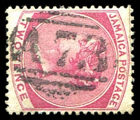 Lot 24949:A73: of St Ann's Bay on 1884 2d rose. [Rated 30 by Proud]