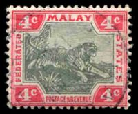Lot 3825:1900-01 Tiger Wmk Crown/CA SG #17a 4c grey & carmine.