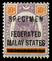 Lot 3913:1900 'FEDERATED/MALAY STATES' on Negri Sembilan SG #5 10c dull purple & orange ovpt 'SPECIMEN'.