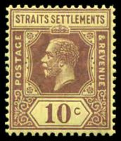 Lot 3816:1921-33 KGV Wmk Script CA SG #231b 10c purple on bright yellow Die II, Cat £18.