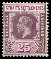Lot 3817:1921-33 KGV Wmk Script CA SG #234a 25c dull purple & mauve Die II Type I, Cat £12.
