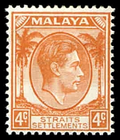 Lot 3819:1937-41 KGVI Die I SG #280 4c orange, Cat £24.