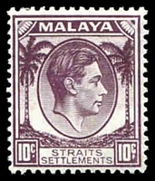 Lot 4305:1937-41 KGVI Die I SG #284 10c dull purple, Cat £10.