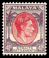 Lot 3909:1937-41 KGVI Die I SG #288 40c scarlet & dull purple, Cat £16.