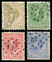 Lot 25670:1872-91 Willhelm III Perf 12½ SG #98,100,103,106 5c, 10c, 20c & 50c, Cat £21. (4)