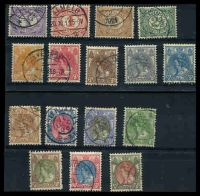 Lot 3912:1899-1923 Small Queen Wilhelmina SG #167-92 all different selection from ½c to 50c lake & bronze-green. (16)