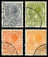 Lot 4383 [1 of 2]:1934-46 Wilhelmina Wmk Circles P13½x2½ SG #423-436 small selection incl key 22½c red-orange, Cat £18. (7)
