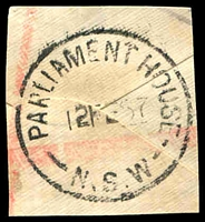 Lot 1061:Parliament House Sydney: 'PARLIAMENT HOUSE/12FE57/N.S.W' on piece.  Renamed from Legislative Assembly PO 1/2/1895.
