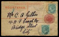 Lot 7283:Queen Victoria Markets: - '[QUEEN VICTORI]A MARKETS/NO1/1901/[SY]DNEY' on ½d x2 on 3d Registration Envelope.  PO 1/9/1899; renamed Queen Victoria Buildings PO 1/5/1918.