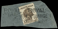 Lot 7329:Royal Exchange: - 'ROYAL/EXCHANGE/N.S.W-AUST' undated parcel roller on 2/6d Aborigine  Renamed from Exchange PO 1/7/1938.
