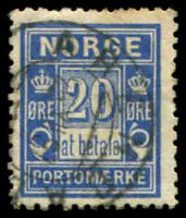 Lot 4043:1895-15 Central Printing SG #D93a 20ø blue P13½x12½, Cat £40, cancelled with double-circle 'ARENDAL/25VII97/[?]