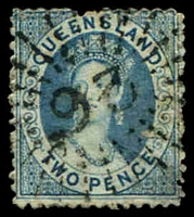 Lot 1683:93: Rays on 1864 2d Chalon (thinned). [Rated 3R]  Allocated to Jondaryan-PO 1/3/1867.