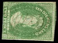 "Lot 10392:12: light mss ""12""-in-bars on Imperf 2d yellow-green (SG #32, Cat £110), creased.  Allocated to Brighton-PO 1/6/1832; renamed Pontville PO 30/6/1895."