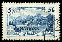 Lot 29153:1922-44 'SOCIÉTÉ DES NATIONS' SG #LN31 5Fr deep blue, Cat £70.