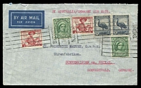 Lot 601:1949 (Dec 4) airmail from Sydney to Germany with 6 stamps totalling 1/7d.