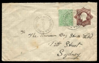 Lot 688:1919-20 1½d Brown KGV Star BW #EP20(2) Die 3, knife 3, with additional ½d KGV green tied by Mundubbera cds 22NO 20 used to Sydney.