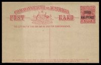 Lot 460:1918-19 'THREE/HALFPENCE' on 1d KGV Sideface BW #P48 on buff, mild discolouration at left.