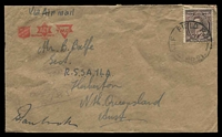 Lot 4894:A.I.F. Field P.O. 'A.I.F. FIELD P.O./19JE45/NO.21.' (Aitape, NG), Proud# D2 on 3d brown KGVI, with violet 'AUSTRALIAN/MILITARY FORCES/PASSED BY CENSOR/781' on face.
