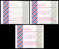 Lot 419 [2 of 2]:1984 Barred Edge Frama 30c set of 7 postcodes.