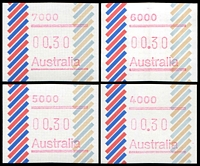Lot 419 [1 of 2]:1984 Barred Edge Frama 30c set of 7 postcodes.