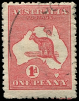 Lot 96:1d Red Die IIA - BW #4(H)h [HR58] White scratches through words of value, Cat $60.