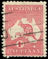 Lot 687:1d Red Die IIA [KL25] Broken shading line below US of AUSTRALIA