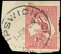 Lot 83:1d Red Die I - [CR39] Break in inner right frame opposite last A of AUSTRALIA, on piece, couple of discoloured perfs.