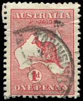 Lot 99:1d Red Die I BW #2(C)f [CL37] White scratch from L of AUSTRALIA to near coast, Cat $15, crease.