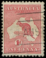 Lot 593:1d Red Die I BW #2(B)fa 1 flaw west of Tasmania - 2nd state, Cat $75.