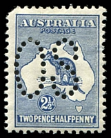 Lot 750:2½d Indigo - BW #9ba perf large 'OS, Cat $375, rounded TRC and small hole at right caused by thin.