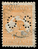 Lot 768:4d Orange - BW #15bb perf small 'OS', Cat $200, couple of trimmed perfs.
