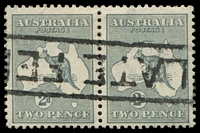 Lot 803:2d Grey BW #6 pair, Cat $30, cancelled with boxed 'LATE FE[E]