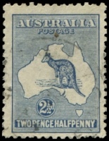 Lot 180:2½d Indigo unplated Coloured flaw above U of AUSTRALIA