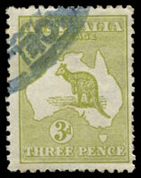 Lot 114:3d Olive Die II - BW #13H, olive-green shade, Cat $250.