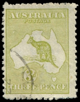 Lot 122:3d Olive Die I - unplated White flaw below AU of AUSTRALIA, roughish perfs