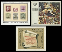 Lot 3975:1968-80 SG #318,400,539 MSs [1] 1968 International Year of Human Rights; [2] 1972 Christmas; [3] 1980 Stamp Centenary.