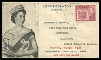 Lot 4038:1953 Royal Visit illustrated cover to USA, 8d Royal Visit cancelled with light 'SUVA/17DE 53/FIJI'.