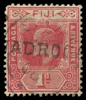 Lot 21131:Nadroga: '[N]ADROGA' straight-line hand-stamp on KEVII 1d red, overstruck with Suva of 1908.  PO c.1890; renamed Sigatoka PO c.-/6/1968.